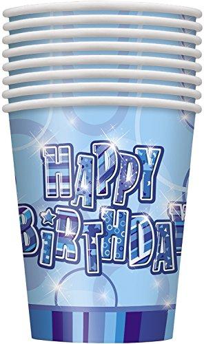 Unique Party 28468 - 266ml Bicchieri per Feste di Carta di Compleanno Blu Brillante, Confezione da 8