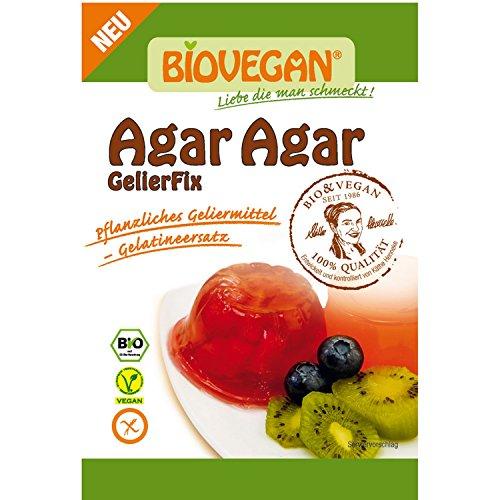 Agar Agar Organico E Senza Glutine Bustina 30g BioVegan - Agar Agar In Polvere Vegetale - Agar Agar Polvere Gelatina Gelificante Organico