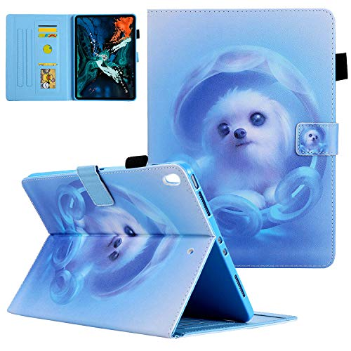 """Compatible iPad Air (3rd Gen) 10.5"""" 2019 / iPad Pro 10.5 2017 Case, UGOcase Slim Full Body Protective Smart Soft TPU Back Cover Folio Stand Case with Pencil Holder, Auto Wake/Sleep, Blue Dog"""
