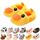 HsdsBebe Unisex Baby Fleece Slippers Infant Boys Girls Cartoon Soft Sole Anti-slip Moccasins - Toddler Stay on House Crib Shoes (0-6 Months Infant, C/duck yellow)
