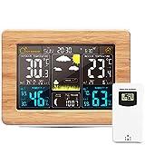 OurLeeme Estación meteorológica inalámbrica, Pronóstico Digital Termómetro Exterior para Interiores Temperatura Humedad Alarma Reloj meteorológico 3 Niveles Retroiluminación (Amarillo)