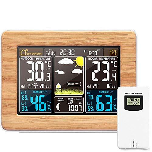 OurLeeme Drahtlose Wetterstation, Digitale Vorhersage Indoor Outdoor Thermometer Temperatur Luftfeuchtigkeit Wecker Wetteruhr 3 Stufen Hintergrundbeleuchtung (Gelb)