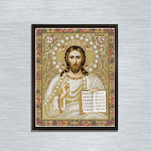 Leezeshaw 5d Bricolage Diamant Peinture par numéro Kits Fameless Strass Broderie peintures Photos pour décoration de Maison – Religion (30 x 39,9 cm/30 x 40 cm) Frameless Religion-11