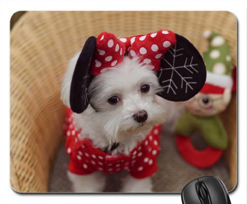 oren rode boog speelgoed minnie wit zwart schattig mand puppy hond kerst Mouse Pad, Mousepad (Dogs Mouse Pad)