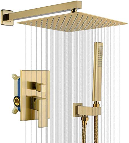 Champagne Bronze Rain Shower System Met 12 Inch Douchekop En Handheld Badkamer Wall Mounted Brushed Golden Shower Set Bevatten Brush Gold Trim Kit.
