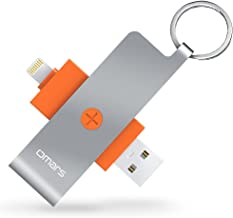 iPhone Memory Card Reader, Omars USB 3.1 Portable Card Reader OTG Adapter with Lightning Connector for Micro SD Card/TF Card Compatible with iPhone iPad MacBook (SD Card not Included) - Orange