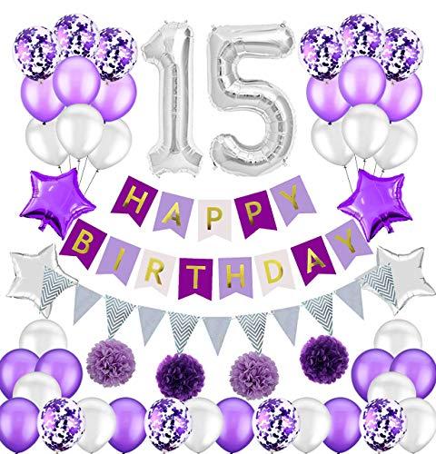 Colorpartyland - Juego de decoraciones de cumpleaños para 15 niñas y 15 cumpleaños