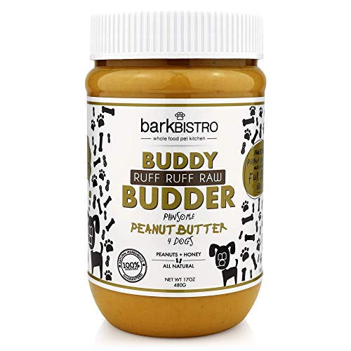 Bark Bistro Company, Ruff R uff Raw Buddy Budder, 100% Natural Dog Peanut Butter, Healthy Peanut Butter Dog Treats, Stuff in Toy, Dog Pill Pocket, - Made in USA, (17 oz Jars)