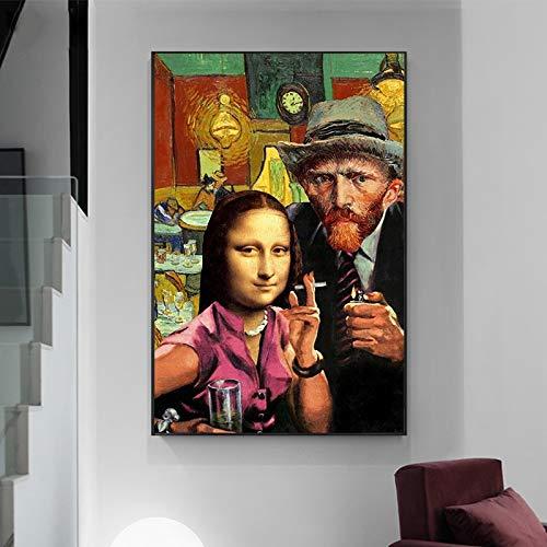 wZUN Arte Divertido y Van Gogh fumando Lienzo Pintura Mural Carteles e Impresiones Pinturas Famosas en la Sala de Estar 60X90 Sin Marco