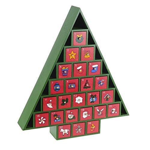 Christmas @ Thumpers Calendario dell' avvento in legno con 24cassetti estraibili-natalizi, Red, large
