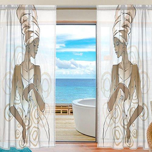 Mnsruu Fenster Vorhänge, Gardinen Seitenteilen Afrikanische Frau Portraits Fenster Behandlung Set Voile Drapes Tüll Vorhänge 198 cm lang für Wohnzimmer Schlafzimmer Girl 's Room 2 Platten