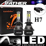 LED Headlight Bulbs H7 High Beam/Low Beam - 4 Sides 240W High Power 24000LM Super Bright 6000K White Headlamp Replacement Kit Error Free Play&Plug All-In-One Conversion Kit - Package of 2