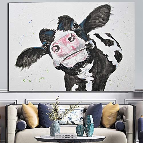 N / A Rahmenloses Gemälde Kuh Leinwand Ölgemälde, verwendet für Heim Nutztier Dekoration Wandkunst HeimdekorationZGQ9079 20x30cm