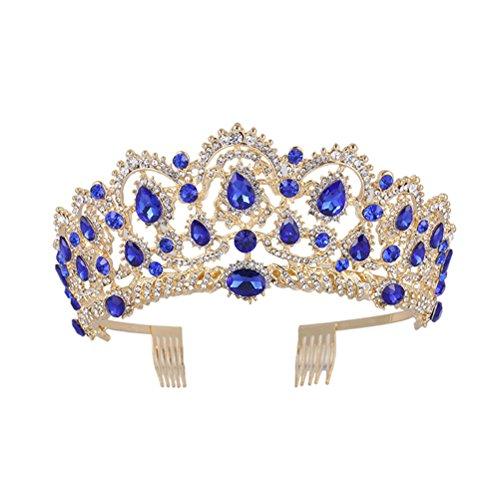Luxshiny Crystal Wedding Crown Queen Tiara Bride Crowns Tiara de mujer con peine Taladro de agua coreano de novia Tiara para el cabello Accesorios para el cabello de novia ( Azul )