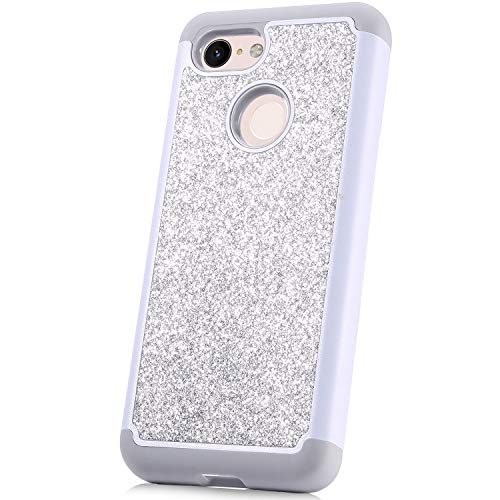 JAWSEU Compatible avec Google Pixel 3 Coque Silicone Gel TPU Case Glitter Paillette Brillante Rigide PC Housse de Protection Diamant Strass Case Cristal Antichoc Bumper Case,argent