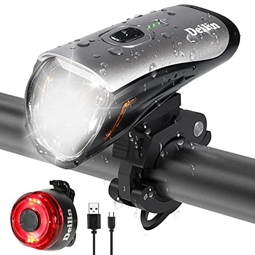 Deilin Fahrradlicht Set, bis zu 70 Lux LED Fahrradbeleuchtung USB Aufladbar Fahrradlampe, IPX5 Wasserdicht Fahrradlichter Vorne Rücklicht Fahrrad Licht Fahrradleuchtenset Fahrradlampe mit 3 Licht-Modi