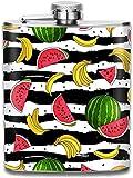 Frucht-Wassermelone und Bananen Tragbare Flasche für Likör, Trichter, Edelstahl, für diskretes Schnapstrinken von Alkohol, Whiskey, Rum und Wodka - Geschenk für Männer
