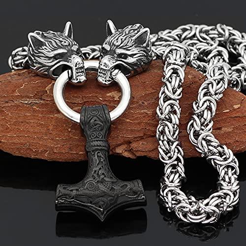 SioHopio Odin Thor's Mjolnir Colgante Norse Viking Thors Hammer Collar para Hombres Mujeres Steel Steel Nordic Wolf Head Joyry,50CM