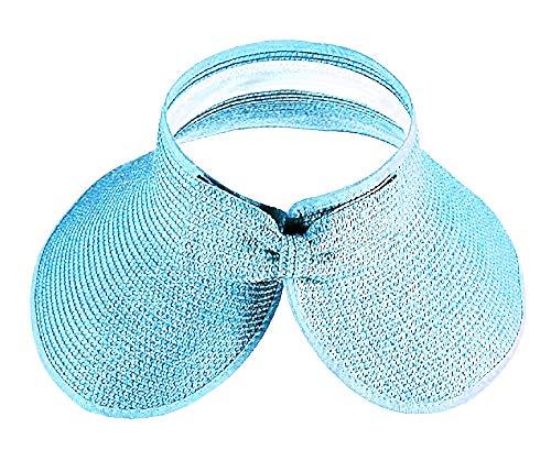 Inception Pro Infinite kapelusz słomkowy – wizjer – szerokie rondo – plaża, morze – podwinięty – parasol przeciwsłoneczny – składany – basen – lato – turkusowy kolor