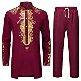 LAXX Men's 2 Piece African Dashiki Shirt, Traditional Tribal Pattern Gold Print Overshirt, Long Sleeve Top and Pants Suit… Burgundy Gold