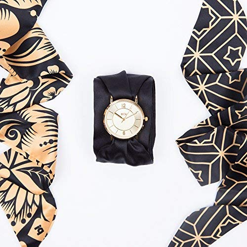 Bill's Watches dameshorloge, satijn, luxueus, trendy, satijn, armband met diermotief Dark Gold Dark Gold
