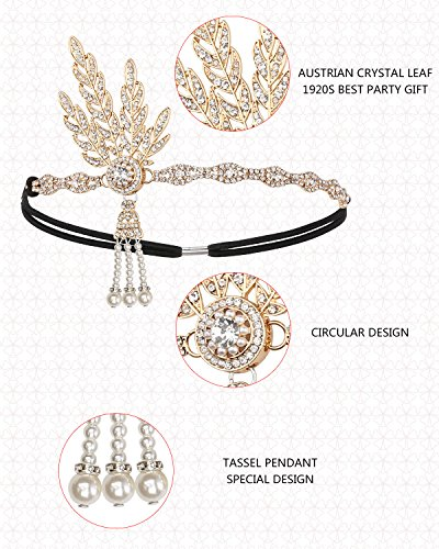1920s Accessories Set Great Gatsby - For Women Headband Bracelet Pearl Necklace Earring For Party (HA-02Gold)
