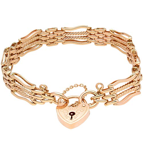 Jollys Jewellers Women's 9Carat Rose Gold 7.25' Gate Link Bracelet w/Safety Chain & Heart Clasp