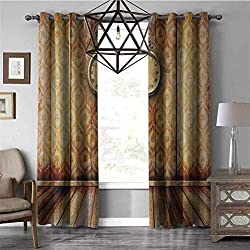 Black Out Window Curtain VictorianAntique Clock on Medieval Style Wall Wooden Floor Classic Architecture Theme Art Grommet Window Curtain for Living Room, Beige Brown W84 x L84 Inch