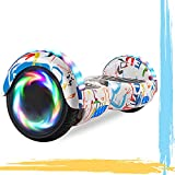 HST 6.5'' Hoverboard Patinetes de Acrobacias Patinete Eléctrico Bluetooth Monopatín Scooter Autobalanceado, Ruedas de Skate con luz LED, Motor Bluetooth de 700W… (Graffiti-N)