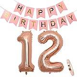 Geburtstagsdeko Rosegold für Mädchen: Folien-Luftballons Zahl 12 Roségold + Happy Birthday Girlande Deko Rosa | Riesen Zahlen-Ballons |40' 100CM | zum 12. als Jahre Kinder Geburtstag Party Dekoration