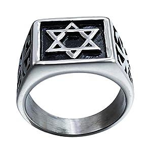 Fengteng Schwarz Silber Farbe Herrenring jüdisch Davidstern Ring Hexagramm Fingerring Star von David Religion Band Sechseck Symbol Ring Stern Religion Schmuckring Kreative Geschenk