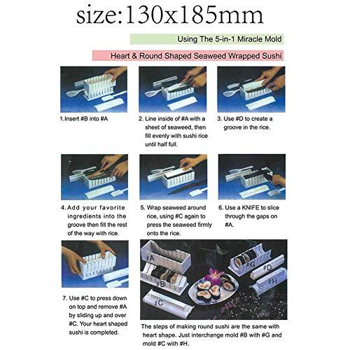 GCDN Suchi Fabricación de Kit 10pc / Juego Maker Molde Arroz Rollo Molde, 5 Shapes-Triangle,Corazón,Redondo,Pequeño Cuadrado, Grande Plaza. Rollos, Bricolaje Japonés Cuisine en el Hogar