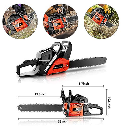 KGK 58CC Gas Powered Chainsaw 20 Inch Gas Chain Saw 2 Strokes Automatic Chain Oiler Anti-vibration System Wood Cutting Petrol Chainsaw with Tool Kit Carry Bag for Cutting Trees Farm Garden