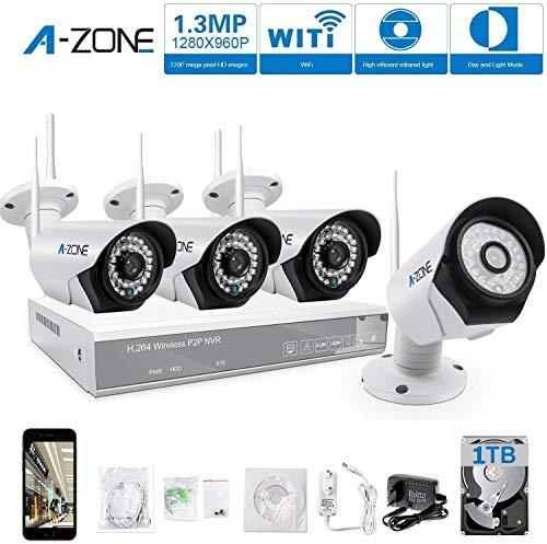 Kit de videovigilancia WiFi A-Zone 4 Canales 960P WiFi NVR + 4 Piezas Cámaras 960P videovigilancia Exterior Kit de cámara IP WiFi con Disco Duro de 1 TB
