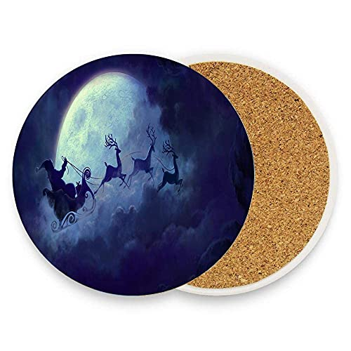 JOOCAR Ceramic Coasters for Drinks Aabsorbent Round Coasters Set of 6 Santa Claus Flying On The Sky With The Deers Cup Mat with Cork Backing for Coffee Wooden Table