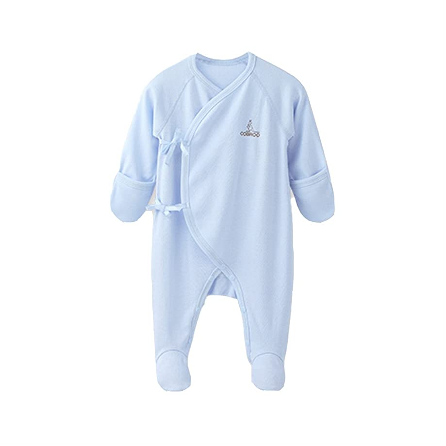 COBROO Unisex Baby Footed Pajamas for Sleep and Play, 100% Cotton Infant Footie Unionsuit with Built-in Mittens 0-3 Months
