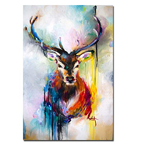 N / A Colorful deer abstract nordic animal canvas painting scandinavian cuadros wall art picture print and poster living room frameless decorative painting A4 70x100cm