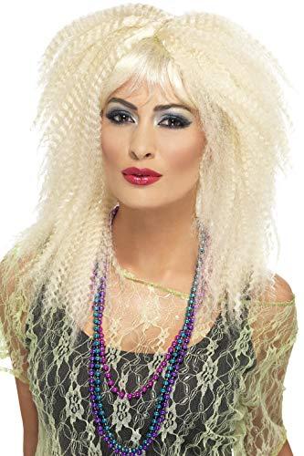 Smiffys, 23160 Dames pruik jaren 80 krullen, één maat, Blond,