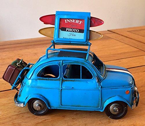 F&G Supplies Großes Vintage Retro Klassisch italienisches Design Blechauto mit hochklappbarem Dach für EIN Bild – 20 cm lang – tolles Geschenk für EIN Regal oder einen Schreibtisch. blau