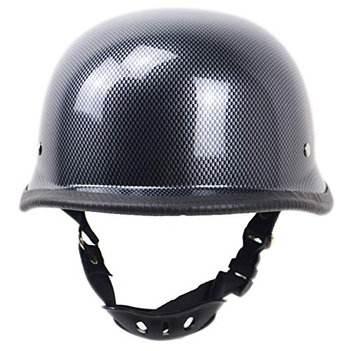ME&ME Half Helmet, German Motorcycle Helmet with Quick Release Buckle, Lightweight Street Bike Helmet Imitation World War II Military Helmet, DOT Approved,Carbon Fiber Imitation,M
