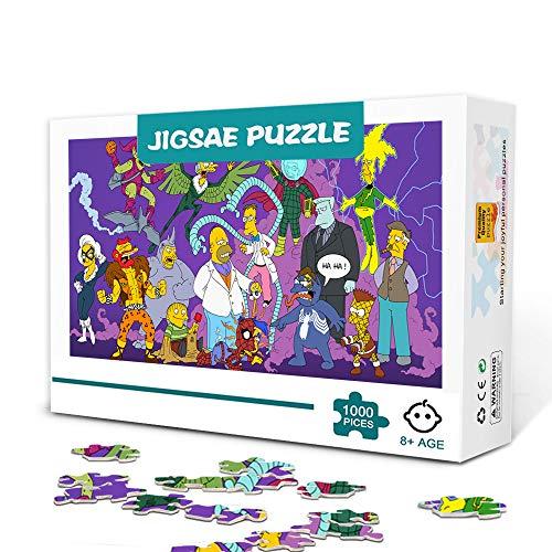zhangkk Rompecabezas para Adultos 1000 Homer SimpsonPuzzle 1000 PiezasRetodifícilJuguete Educativo para aliviar el estrés para Adultos Niños 75x50cm