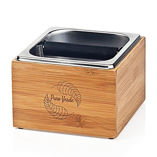 Puro Verde Abklopfbehälter für Siebträger | 3-teiliges Set aus Bambus Case, Edelstahl Knock Box & Herausnehmbarer Stange | Das perfekte Barista Zubehör für mehr Spaß & Genuss