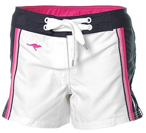 KangaROOS Damen Boardshorts Badeshorts Bade Shorts Weiß-Marine 38