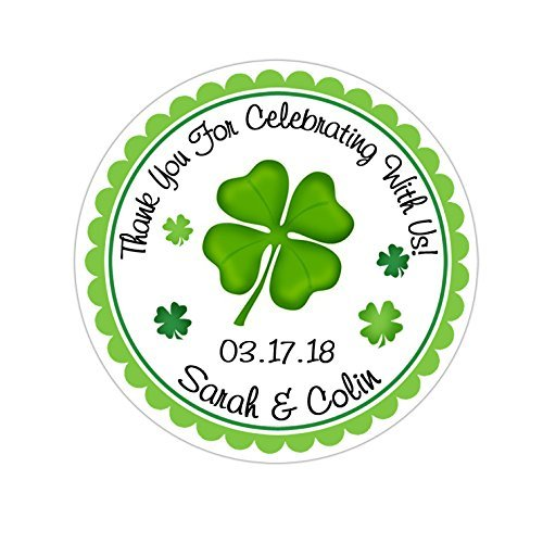 Personalized Customized Wedding Favor Thank You Stickers - Irish Clover - Choose Your Size
