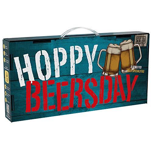 Hoppy Beersday | Beer-Tasting-Box | inkl. Grußkarte | Geschenkartikel mit Tragegriff | 8 Bier-Spezialitäten | Vatertag | Geburtstags-Geschenk für Männer (Hoppy Beersday 8x0,33l)