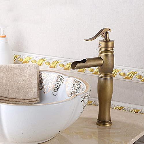 YEEGO grifos Baño grifos Mezclador grifo grifos lavabo fregadero latón europeo antiguo grifo retro agua pozo solo agujero lavabo encima del contador lavabo lavabo caliente y fría
