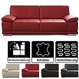 [page_title]-CAVADORE 3-Sitzer Sofa Corianne / Echtledercouch im modernen Design / Mit Armteilverstellung / 217 x 80 x 99 / Echtleder rot