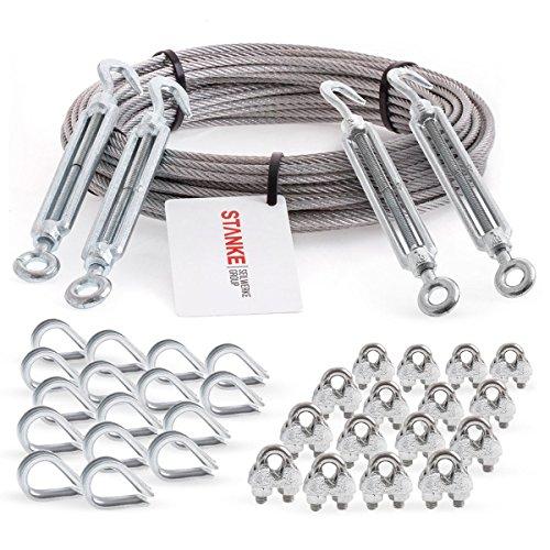 Seilwerk STANKE Rankhilfe Edelstahldrahtseil 40m V4A Edelstahlseil 4mm 7x7, 4x Spannschloss verzinkt M6 Haken+Öse, 16x Kausche V4A, 16x Bügelformklemme V4A - SET 6