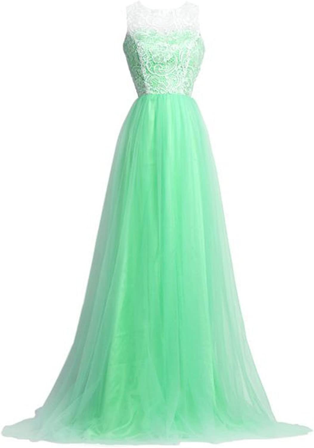 Maiqi Ball Gown Puffy Tulle and Lace Hollow Back Long Evening Party Gown US 8 Green