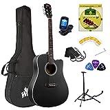 Winzz Guitarra Acústica Kit para Principiantes GS Mini 3/4 Tamaño 36'' Acabado Clásico con Bolsa, Afinador, Correa, Púas, Cuerdas Adicionales y Soporte de Guitarra